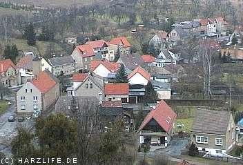 Blick von der Burgruine auf Stecklenberg