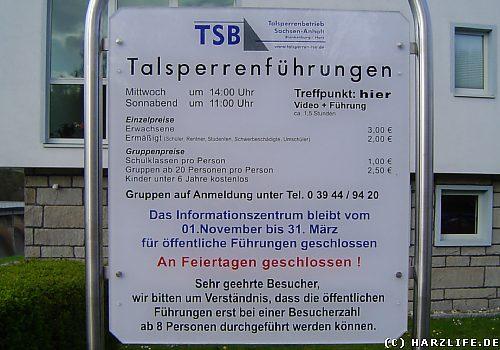 Hinweistafel Talsperrenführung in Wendefurth - Jahr 2008