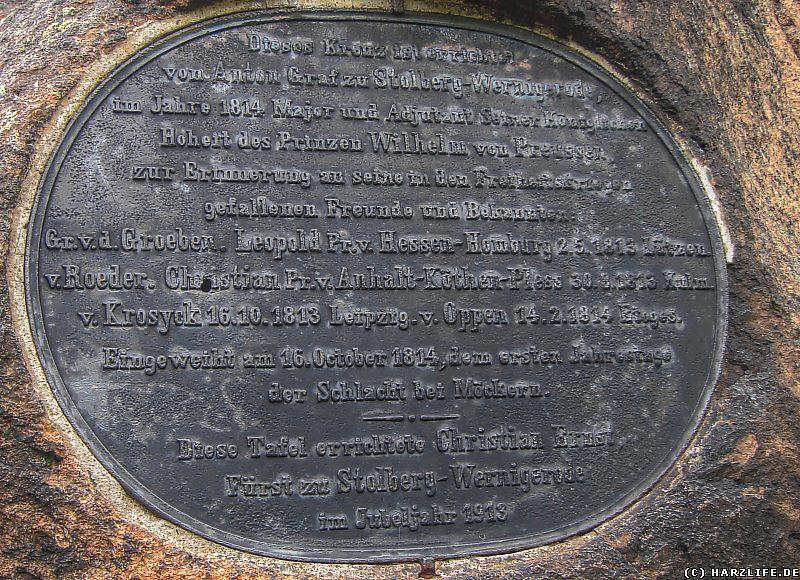 Die Gedenktafel auf dem Ilsestein