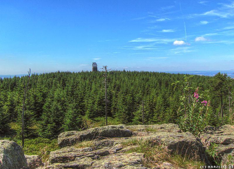 Aussicht auf die Hanskühnenburgbaude im Harz