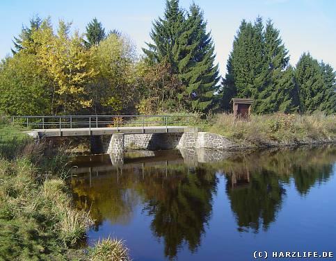 Ziegenberger Teich bei Buntenbock mit Staudamm und Ausflut