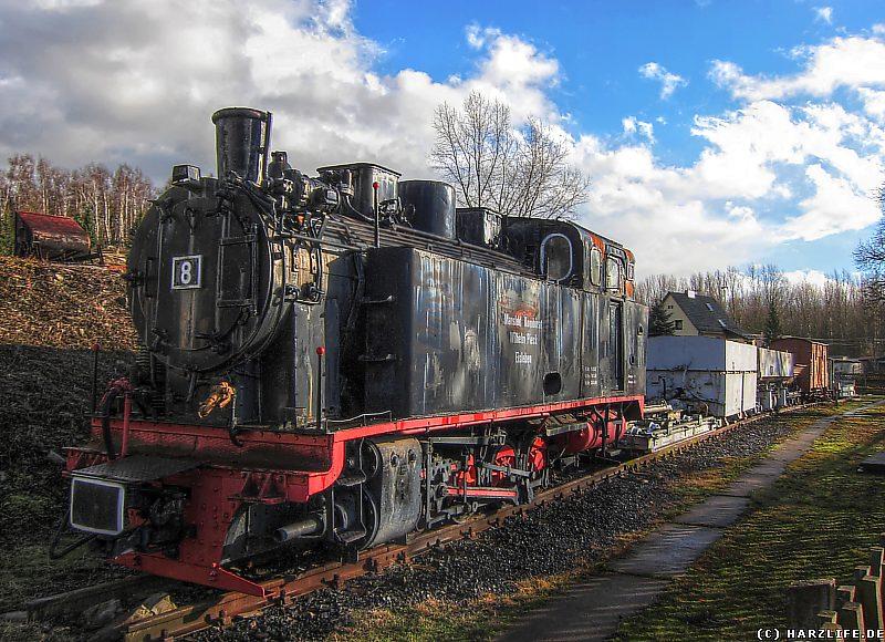 Eine ehemalige Dampflok der Mansfelder Bergwerksbahn